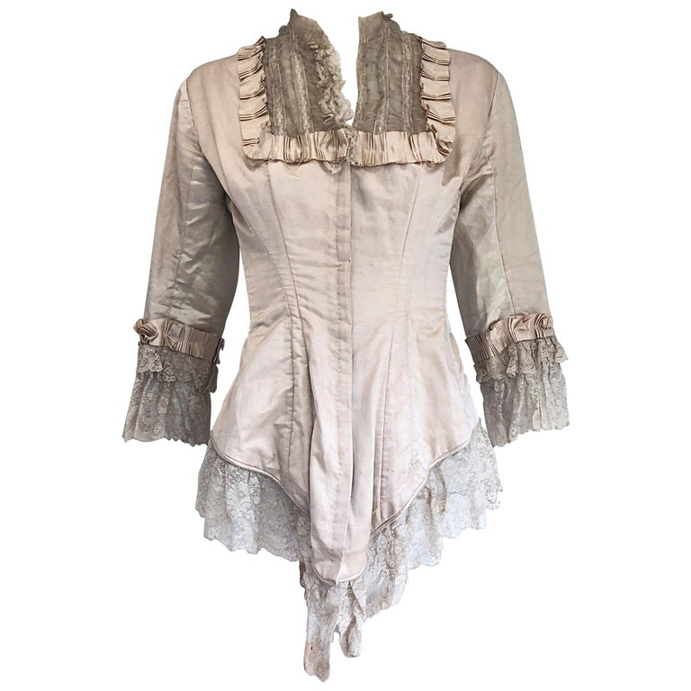 Incredible Authentic Victorian 1880s Ivory Silk Lace Corset 1800s Couture Blouse For Sale