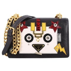 Prada Robot Flap Shoulder Bag Mixed Media Leather Small