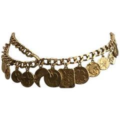 Yves Saint Laurent Gold Tone Clover Heart Moon Chain Link Charm Belt, 1980s