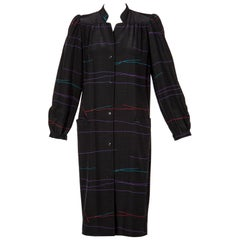 Vintage Halston Black Abstract Striped Shirt Dress Coat