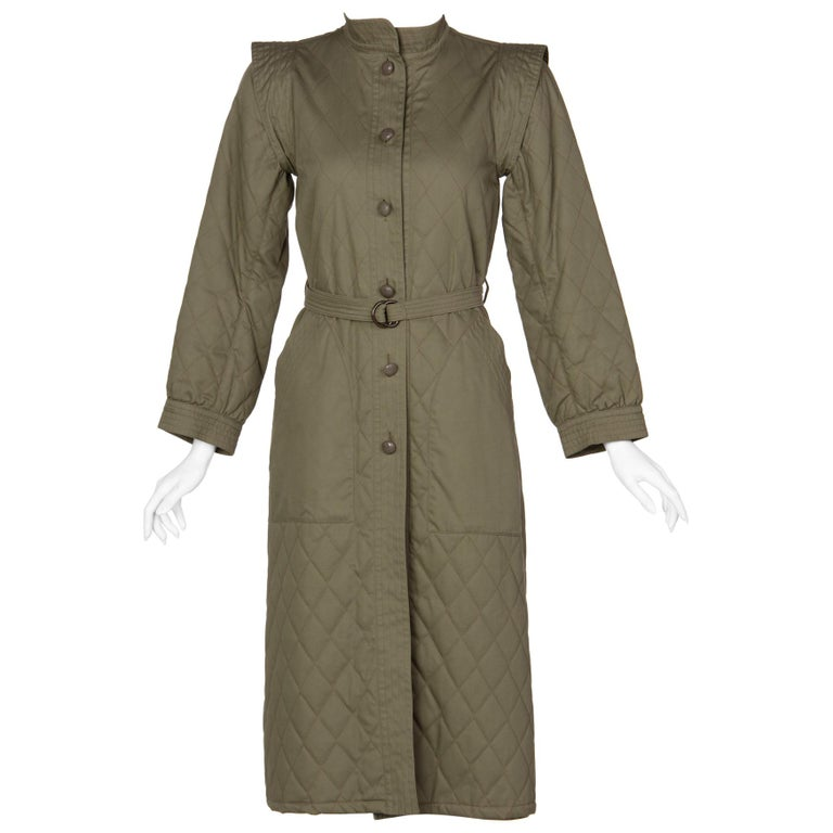 6a86dec42f2 Yves Saint Laurent Russian Collection Quilted Trench Coat YSL 1976 For Sale