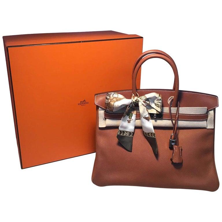 33a8841aa0 Hermes 35cm Tan Barenia Faubourg Leather Birkin Bag