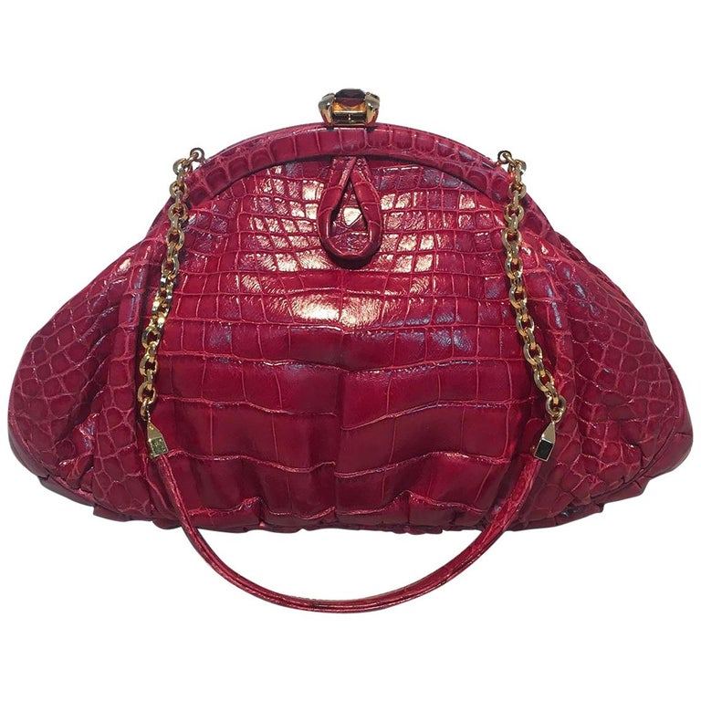 Judith Leiber Small Red Alligator Handbag