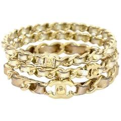 Chanel 2015 Set of 3 Gold Leather Laced CC Bangle Bracelets w. Box