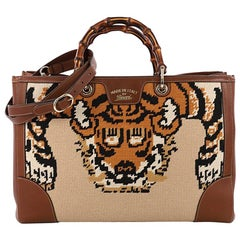 Gucci Bamboo Shopper Tote Needle Point Textile Large