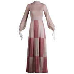 1970s Wenjilli Vintage Metallic Pink Knit Maxi Dress