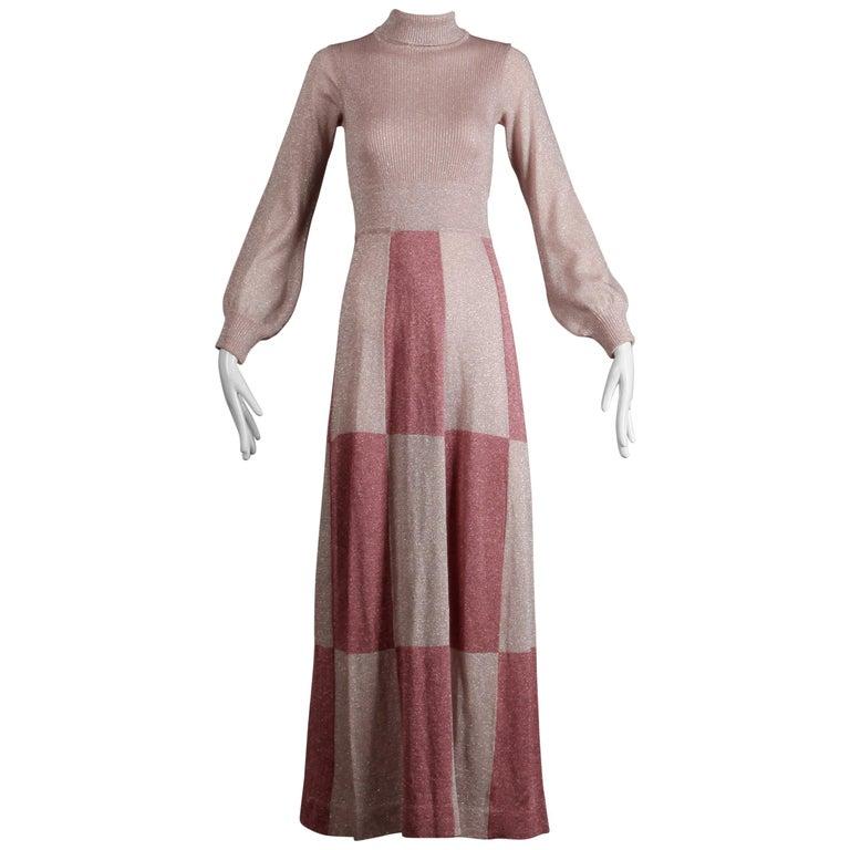 1970s Wenjilli Vintage Metallic Pink Knit Maxi Dress For Sale