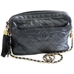 Vintage Chanel Quilted Shoulder Bag Black Lambskin Leather Matelasse CC Logo 80s