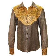 Tom Ford for Gucci Runway S/S 2004 Collection Western Leather Men's Shirt It. 52