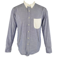 45rpm Size M Navy & White Color Block Cotton Chambray Long Sleeve Shirt