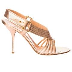 New Edmundo Castillo Soft Metallic Rose Gold Napa Leather Sling Heels