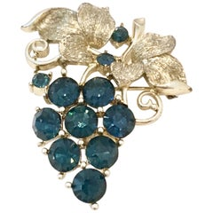 "20th Century Silver & Blue Sapphire Crystal ""Grape Bunch"" Brooch By, Lisner"