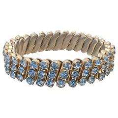 1960'S Gold & Sapphire Blue Crystal Rhinestone Expansion Link Bracelet-Hong Kong