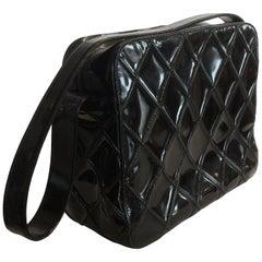 Chanel Vintage Black Enamel Patent Leather Shoulder bag handbag