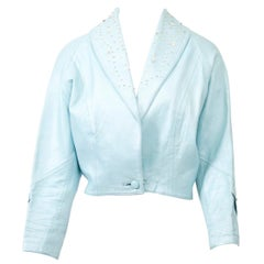 Blue Leather Cropped Jacket with Beading