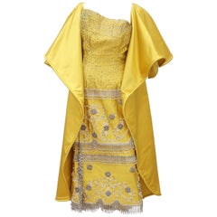 1950's Showgirl Style Yellow Satin Beaded Fringed Dress With Wrap Coat