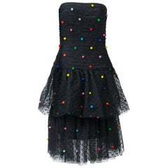 Victor Costa Tiered Net Dress w/Multi Pompoms