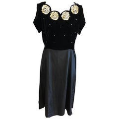 Velvet / Rayon Black Embellished Dress 1940s