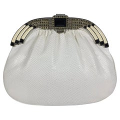 Art Deco style white lizard rhinestone and enamel frame evening bag