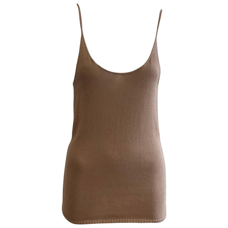 bbbb32b532235d Dries Van Noten Long Light Brown Cotton Top (S) For Sale at 1stdibs