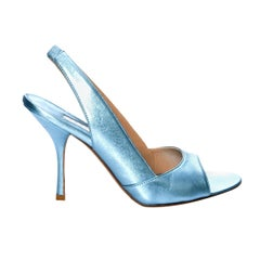 New Edmundo Castillo Blue Metallic Napa Leather Sling Heels