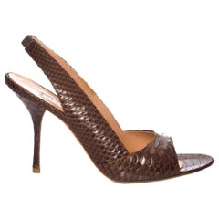 New Edmundo Castillo Brown Python Sling Heels Sz 8.5