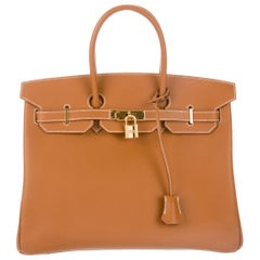Hermes Birkin 35 Cognac Leather Top Handle Satchel Carryall Bag W/Accessories
