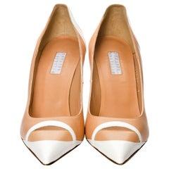 New Edmundo Castillo Peach and White Leather Heels Pumps Sz 9