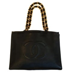 Chanel Vintage Large Black Shopper Handbag Bag