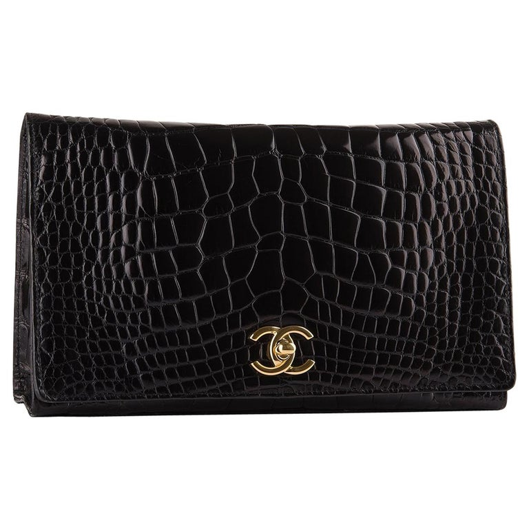 Chanel Rare Black Crocodile Leather Gold Evening 2 in 1 Clutch Shoulder Flap Bag