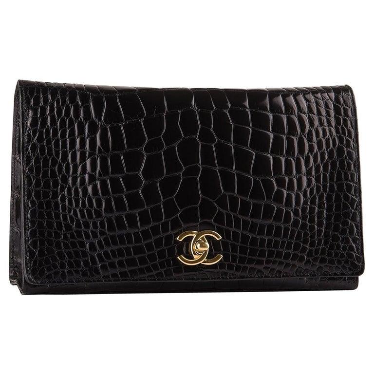 Chanel Rare Black Crocodile Leather Gold Evening 2 in 1 Clutch Shoulder Flap Bag