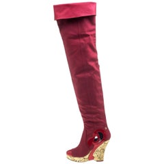Chanel Red Thigh High Fabric CC Logo Intarsia Wedge High Heeled Boots