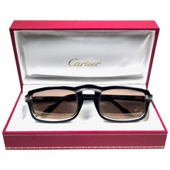 Cartier Vintage Vertigo Deep Blue and Platinum 54MM Sunglasses, France 1991