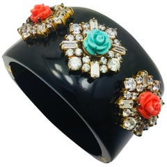 MEGHNA JEWELS Handcrafted Statement Black Resin Floral Cuff