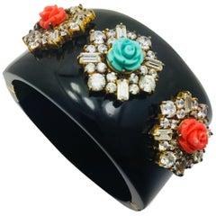 Black Resin Statement Floral Cuff