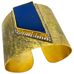 MEGHNA JEWELS Hand brushed Statement Faux Lapis Cuff
