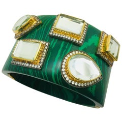 Meghna Jewels Malachite Resin Cuff worn by Kelly Rutherford in Gossip Girl
