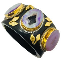 MEGHNA JEWELS Statement Resin Faux Amethyst Crater Druzy Cuff
