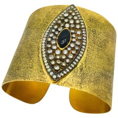 MEGHNA JEWELS Hand brushed Evil Eye Statement Gold Cuff