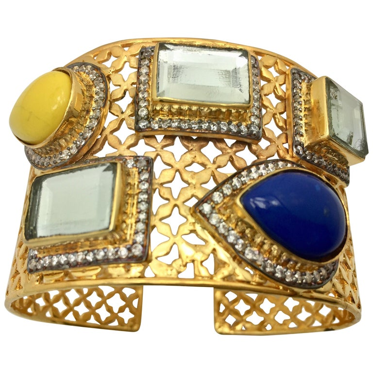 Meghna Jewels Lattice Handcrafted Polki & Resin Cuff For Sale