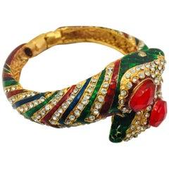 Enamel Faux Diamond Serpenti Bangle Bracelet