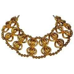1960's William de Lillo Gold  Dome Collar Statement Necklace