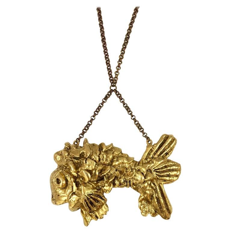 Kenneth Jay Lane Huge Fish Pendant Necklace, 1970s For Sale