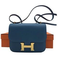 Hermes Constance Blue Azur Epsom Ghw Mini Handbag