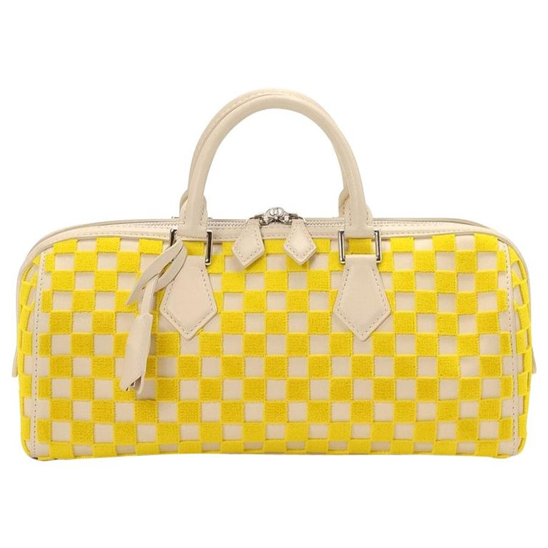 Louis Vuitton Ivory Yellow Fabric Leather Top Handle Satchel Bag W/Accessories