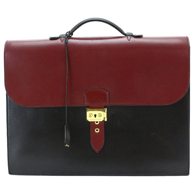 Hermes Leather Two Tone Gold Lock Men's Women's Top Handle Business Briefcase