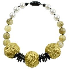 Italian Angela Caputi Choker Necklace Pearl Yellow Smoked Resin & Thread Beads