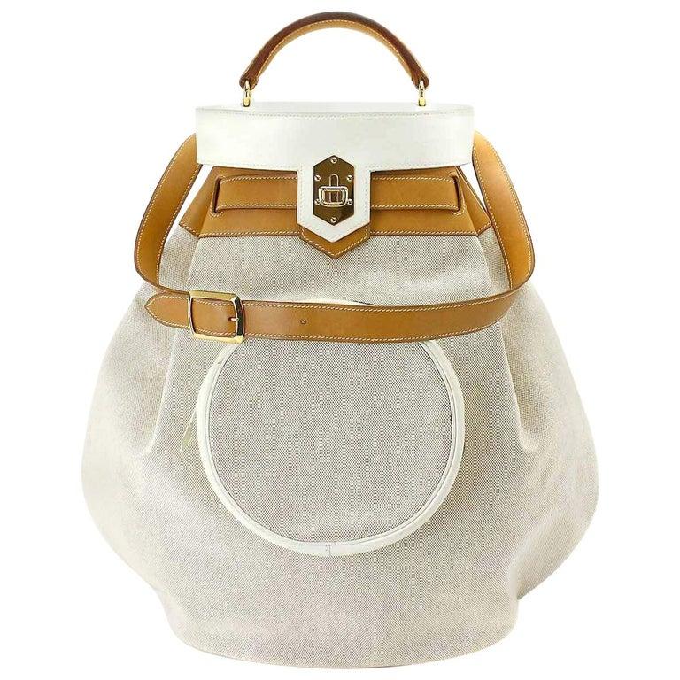 Hermes Tan Canvas Cognac Leather Top Handle Satchel Carryall Shoulder Bag For Sale