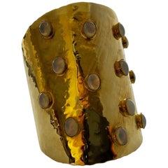 Gold Mid-Century Modern Jeweled Faux Opal Cuff bracelet