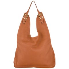 Hermes Cognac Leather Large Hobo Style Carryall Shoulder Bag